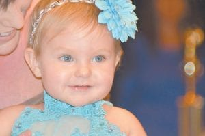 — One-year-old Chloe Rose Wright won first place and most photogenic in the seven to 12 month category of the Mountain Heritage Festival Pageant held last week. She is the daughter of Mark and Ellena Wright of Jenkins. (Photo by Connie Fields)