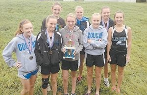 Members of the Letcher County Central High School girls' varsity cross country team posed for a photo after The Beast of the East competition. They are (back row, from left) Angelina Gose, Amber Crawford, (front row, from left) Leanna Bryant, Kesiba Balthis, Ally Damron, Endia Lillie and Briana Cates.
