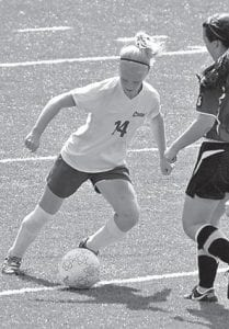 Letcher County Central High School soccer player Meg Raleigh played defense during a game against Estill County on Sept. 15 which ended in a 2-2 tie. The team's record stood at 6-3-1 with three matches left.