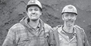 Andy Christian Sr. (right) posed with son in 'Coal' publicity shot.