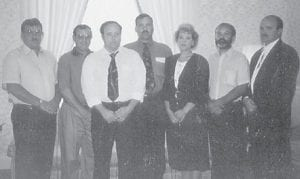 The family of Norma Jean Trent Hatton and the late James 'Mutt' Hatton, formerly of Whitesburg, now live in North Vernon, Ind. Pictured are Jamie Darrell, Denny Powell, Larry Van, Clyde Charles, Sheryl Dawn, Greg Lane, and Jack Ladon.