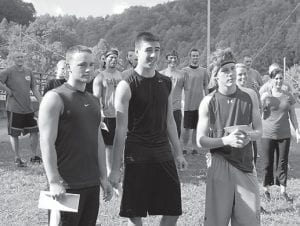 — The first entire team to finish the Mountain Mudder 5K obstacle course on Sept. 22 consisted of Marcus Baker, Paul Sokolowich and Jordan Webb.