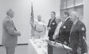 The Kentucky River Area Development District Board of Directors meeting was held August 22. A new slate of officers was sworn in including (right to left) Whitesburg Mayor James W. Craft, chairman; Letcher County Judge/Executive Jim Ward, vice-chairman; Dale Bishop, treasurer; Pippa Passes Mayor Scott Cornett, secretary; and Wolfe County Judge/Executive Dennis Brooks, parliamentarian.