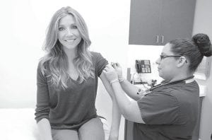 Sarah Chalke, actress and spokesperson for the Faces of Influenza campaign, received her flu shot recently to help protect herself and her young son, Charlie, from this serious disease. Vaccination is recommended for everyone over 6 months. (AP photo)