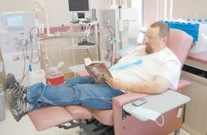 Thomas Roark, 38, of Kingscreek, has been going to the dialysis center in Whitesburg for the past two months. He said he will have no problem transferring to Jenkins when the new facility is finished and open. (Photo by Sally Barto)