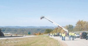 """A rest stop along U.S. 23 near Pound Gap at the Kentucky-Virginia state line was the staging area for Letcher County residents participating in the """"United for Coal"""" rally held over the weekend. (Photo courtesy Tabitha Collier Muncy)"""