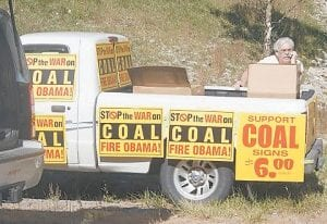 Rick Caudill of Whitesburg sold signs at the event. (Photo courtesy Tabitha Collier Muncy)