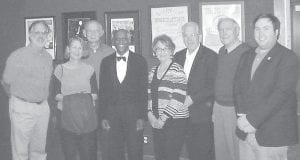 "Members of the Whitesburg Rotary Club recently attended a Barter Theatre performance of James Still's play ""Looking Over the President's Shoulder"" at Mountain Empire Community College in Big Stone Gap, Va. The play, sponsored by Wise County ProArt, is based on the memoirs of former White House butler Alonzo Fields, who served four presidents. Following the performance, actor Jasper McGruder, the star of the play, joined Rotarians for a photo. From left to right are Roy Crawford, Laura Miller, Larry Whitaker, Jasper McGruder, Brenda DePriest, Joe DePriest, Jack Burkich and Williams Banks."