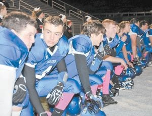 NOT MUCH FUN — The looks on the faces of these members of Letcher County Central High School football team said it all last Friday night as the Cougars lost to Whitley County, 55-18, in a game played at Ermine. (Photo by Chris Anderson)