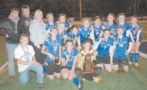 14TH REGION CHAMPS — Letcher County Central's Lady Cougars soccer squad defeated Estill County 2-1 last week to claim the regional title. Pictured are (front row, left to right): Jason Buttrey (ball boy), Brooke Adams, Destiny Sturgill, Skye Johnson, Alexis Cornett, Meg Raleigh; back row, left to right: assistant coaches Ted Reiterman and Stephen Sturgill, head coach Betty Acevedo, Kelsey Marcum, Courtney Venters, Courtney Wilson, Brittney Buttrey, Savannah Hampton, Lindsey Williams, Brooke Kincer, Carli Combs, and Kelsie Cornett.
