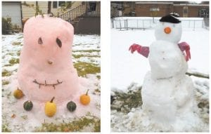 FUN IN THE SNOW — A snow pumpkin (left) was built at Little Cowan Tuesday by Phillip, Beth and Maggie Little. Leisha Fleming and Kayla Thomas built the snowman (right) in front of the McRoberts Elementary School. These and other photos of snow scenes can be viewed at www.facebook.com/ ItScreams or by searching The Mountain Eagle on Facebook.