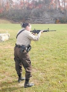 Letcher County Deputy Sheriff Crystal Davis practiced firing one fo the new rifles obtained by the department.
