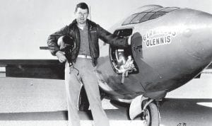 """Capt. Charles E. """"Chuck"""" Yeager is shown standing next to the Air Force's Bell-built X-1 supersonic research aircraft after he became the first man to fly faster than the speed of sound in level flight on October 14, 1947. (AP Photo/US Air Force)"""