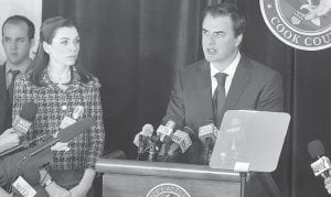 "Julianna Margulies, left, and Chris Noth are shown in a scene from the CBS series, ""The Good Wife."" The high drama of this political season has been echoed by episodic TV like ""The Good Wife"" and Showtime's ""Homeland,"" where character Nicholas Brody returns home from imprisonment in Afghanistan to become a U.S. Congressman. (AP Photo/CBS)"
