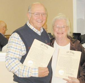 """TWO HONORED FOR THEIR WORK — Wendell """"Butch"""" Boggs and Mary Ann Mullins were presented Lifetime Achievement Awards from the Kentucky Senate during the November meeting of the Jenkins City Council."""