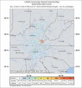 The United States Geological Survey issued this map showing the locations of people who told the USGS they felt tremors from the earthquake that was centered in Letcher County on November 10. The tremor was measured at a magnitude of 4.3 on the Richter scale.