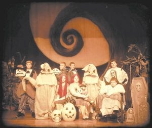 Pictured are (front row, from left) Sidney Mullins as Sally, Kiana Day as Mallie, Christian Broderdorp as Dr. Finklestein, (back row) Luke Little as the mayor, Anna Morris as Oogie Boogie, Dalton McCown as Jack the Pumpkin King, Hunter Vance as Mack the Pumpkin Prince, Courtney Whitaker as Oogie Boogie and Jayson Pease as Igor.