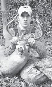Tyler Rowe, 17, killed this 10-point buck on November 10. He is the son of Randall and Rosemary Rowe of Blackey, and the grandson of Billie Miller of Blackey and Bill and Bertha Cottongame of Hazard. He has a younger sister, Morgan.
