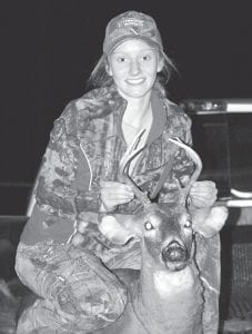 Meg Raleigh, a junior at Letcher County Central High School, killed her first deer, a 6-point buck, while hunting in the Mayking area on November 17. She is the daughter of Kitty Gish and Doug Raleigh of Bottom Fork.