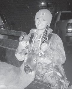 Shelbi Kincaid killed her first deer, a 7-point buck, on November 17. The daughter of John and Logetta Kincaid of Blackey, she is in the eighth grade at Letcher Middle School.
