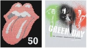 """Above left, """"The Rolling Stones 50,"""" by Mick Jagger, Keith Richards, Charlie Watts and Ronnie Wood, is being released by Hyperion in celebration of the band's 50th anniversary. At right is the cover of """"Green Day: The Ultimate Unauthorized History,"""" by Alan di Perna for Voyageur Press."""