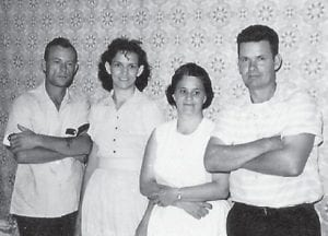 Pictured are (left to right) the late Bill and Juanita Hatton and Sillar and Ivan Baker Hatton. The parents of Bill and Ivan Hatton were William Isaac 'Ike' and Lilly Mullins Hatton.