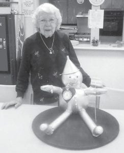 Judith Vermillion made the Tin Man from the Wizard of Oz out of two pumpkins for a Halloween party at the Ermine Senior Citizens Center.