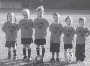 The Bears soccer team members, coached by Lisa Cornett, are (left to right) Lori Meade, Ella Ison, Kelsey Goins, Luke Miller Macey Warf and Brody Griffith.