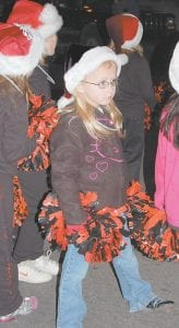 Kylie Williams marched in the parade with the West Whitesburg Elementary School pee wee cheerleaders.