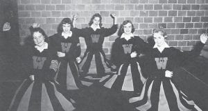 WHITESBURG HIGH SCHOOL B TEAM CHEERLEADERS — (left to right) Linda Phillips, Mary Rodgers, Margaret Bach, Judith Combs and Beth Lucas.