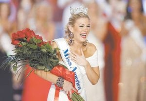 Alabama native Mallory Hagan was emotional after winning the Miss America crown. (AP photo)