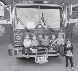 — A group of two- to four-year-olds has been gathering once a month for Field Trip Fridays. The group is open to any preschooler and parents. The children recently visited the Neon Volunteer Fire Department. Pictured (left to right) are Nazariah Duty, Titus Duty, Amirah Cook, Bishop Sexton, Mia Sexton and Jasmine Sexton. For more information, contact Dedra Burke Duty on Facebook.