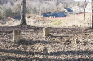 Two graves have already been moved from the Newman Cemetery located near the Caudill-Hall Cemetery near Civil War Gap at Carcassonne, 3-1/2 miles from Blackey. Both cemeteries are bordered by an active surface mine operated by James River Coal. (Eagle photo)