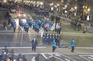 The Letcher County Central High School Marching Band and JROTC Honor Guard performed during the 57th Presidential Inaugural Parade on Pennsylvania Avenue in Washington. The band was among 42 groups in the parade, held after the ceremonial swearing-in of President Barack Obama. (AP Photo/Alex Brandon)