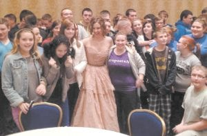 Members of the LCCHS Marching Band and JROTC Honor Guard posed for photos with actress and former Kentucky resident Ashley Judd during the Bluegrass Inaugural Ball.
