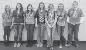 Seven Cowan Elementary School students have advanced to regional competition in academics. The district tournament was held at Whitesburg Middle School with Cowan, Whitesburg and Letcher Elementary schools. Letcher won first place overall and was first in quick recall. Cowan students who are advancing are (left to right) Lilah Hammock, fourth English composition and fifth language arts; Makenna Johnson, fifth English composition; Laken Caudill, fourth language arts; Micayla Brashear, second social studies; Journey Adams, fifth math and third language arts; Haley Banks, fourth math; and Alex Fields, fourth science and third arts and humanities.
