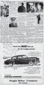 When the January 29, 1953 issue of The Eagle went to press, the Korean War had been going on for more than 2-1/2 years. It would still be six months before the final armistice was signed on July 27, 1953, after 33,686 U.S. soldiers had been killed and an additional 8,167 were missing in action. Seen below is the image of a portion of Page 3 of that edition of the paper, which included reportson a few of the many Letcher County residents who had been called to action to help stop communist North Korea's invasion into democratic South Korea.