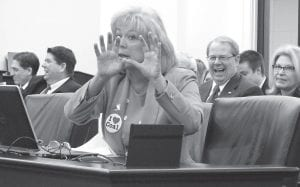State Rep. Leslie Combs discussed the bill she is sponsoring during a hearing last week. (AP Photo)