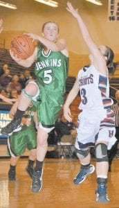 Whitney Creech went up for a layup in a game against the Knott Central Lady Patriots earlier this year. The Jenkins High School freshman is the top scorer in Kentucky for just-completed 2012-13 regular basketball season, averaging 30.1 points per game.
