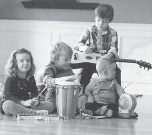 "— Pictured are Will and Loren Hatton, sons of Dr. Kevin and Adriane Hatton of Lexington, and Elise and Daniel Hill, children of Rockie Hatton Hill and Matt Hill, also of Lexington. They are the grandchildren of Robert Hatton and the late Joan Trent Hatton. Their great-grandmother, Whitesburg correspondent Oma Hatton, said, ""This will probably be a big band in the future. Right, Rob!"""