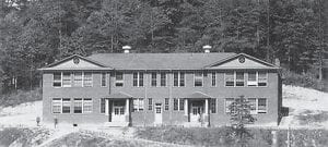 These photographs show Fleming-Neon High School before (above) an addition was added in 1938 and how the school looked after that (below) until it burned in 1958.