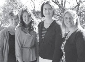 L.R. Bean Dental Radiology Award winner Katelyn M. Mullins (second from left) poses with instructors Amy Karnes (far left), Mary Jones and Sharlee Burch (right).