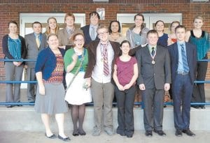 The Letcher County Central High School speech team finished second in regional competition and is now going to state. The team includes five regional champions. Each of the 16 members of the team finished first in at least one category. Pictured are (front row, left to right) Hannah Maggard, Dorothy Whitaker, Drew Raleigh, Erica Webb, Joshua Stephens, Zach Joseph, (back row) Abby Frazier, Cameron Wright, Tori Ison, James Craft, Michael Holbrook, Bayley Amburgey, Holly Thomas, Hannah Johnson, Tamara Stallard and Ashley Benton. The team is coached by Kim Sergent.