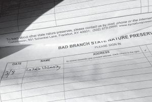 A sign-in sheet shows that a group from La Salle University entered the Bad Branch Nature Preserve on March 8, the day after they got lost and were rescued after becoming confused in the dark on Pine Mountain. (AP Photo/Dylan Lovan)