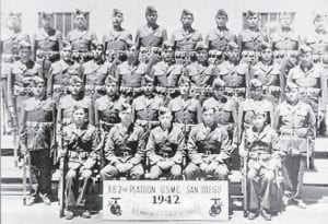The first detachment of Navajo Communication Specialists poses for this group picture upon completion of their basic training program in May, 1942.