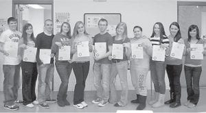 — The Interact Club of Jenkins Independent School recently inducted 12 new members. Pictured are (left to right) Hunter Branham, Mercedes Boggs, Jacob Campbell, Brooke Collier, McKenzie Gibson, Billy Mullins, Erin Tackett, Autumn Ratliff, Caitlyn Estevez, Allison DePriest, and Summer Hall. Not pictured is Jon Michael Collins. The Interact Club is made up of high school students, and conducts community and international service projects. The Interact Club of Jenkins Independent School was established in 2012 by the Rotary Club of Whitesburg and has 35 members.