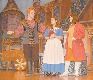 Above, Gaston tries to woo Belle, but she is not interested. Pictured are Drew Raleigh as Gaston, Erica Webb as Belle and Summer Adams as Gaston's sidekick LeFou.
