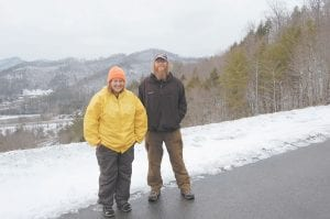 """TAKING A BREAK — Joanna Swanson, 28, of Willow River, Mo., and Bart Houck, 43, of Mullens, W.Va., were in Letcher County earlier this month while taking a short break from hiking the Great Eastern Trail, which is billed as """"America's newest long distance trail for hikers from Alabama to New York."""""""
