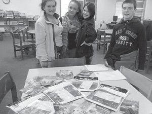 These eighth-graders from Letcher Middle School have learned about Mexico through information from the country's Secretary of Tourism. Pictured are Hannah Holland, Deanne Adams, Jaley Caudill and Conley Sexton.