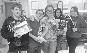 Cowan Elementary School students receiving items for the Secretary of Tourism of Mexico are Chris Ingram, Shannon Adams, Journey Adams, Jade Bailey and Tiffany Cornett.